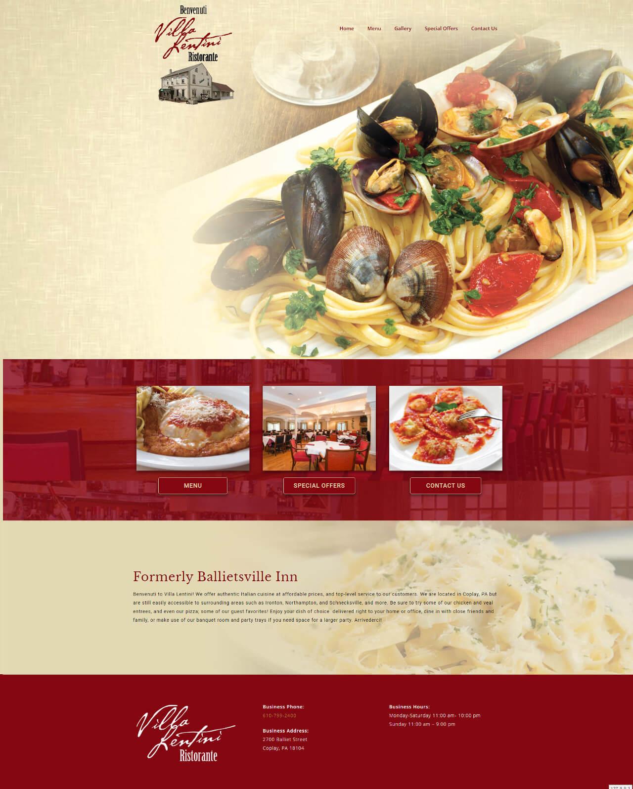 Villa Lentini Restaurant - TLS Mobile Friendly Website