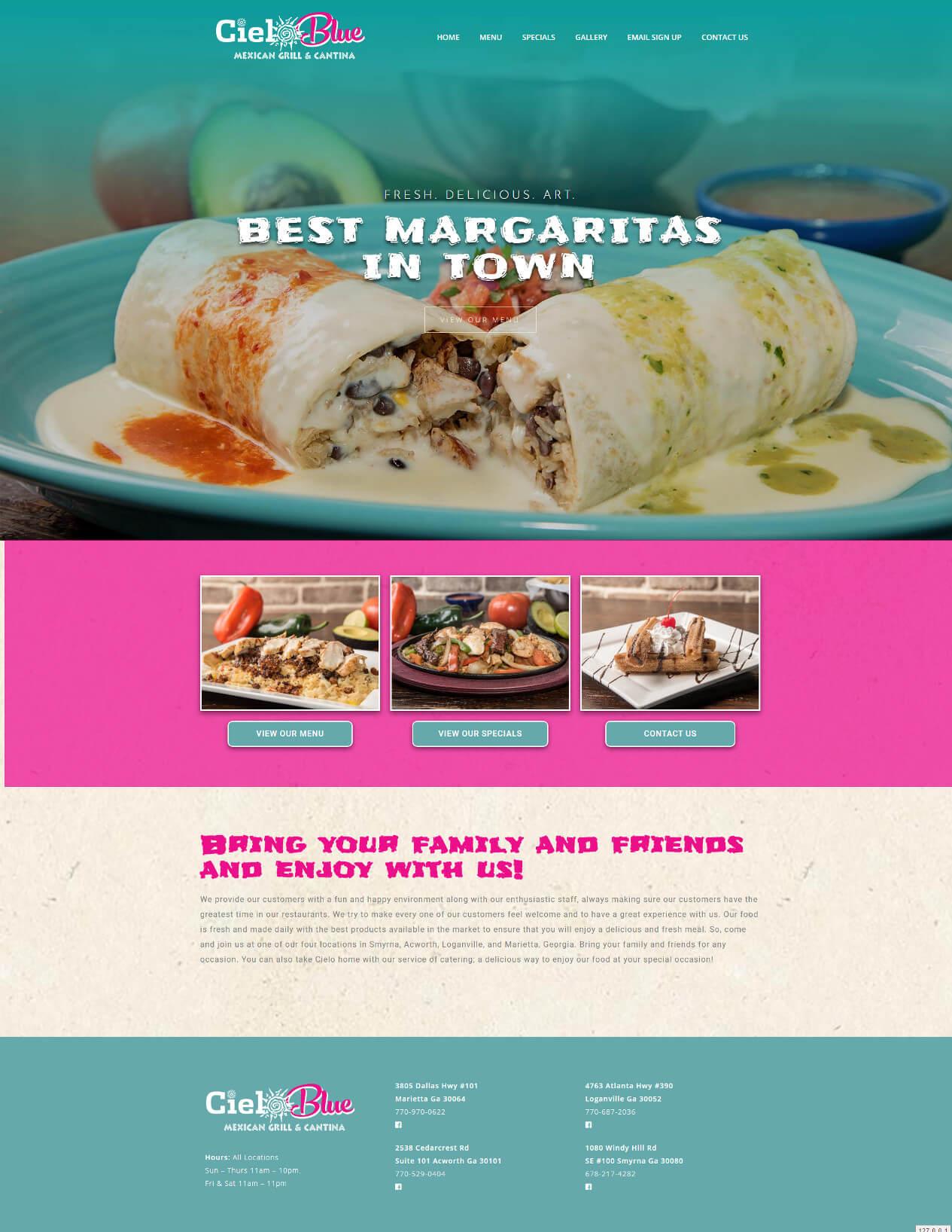 Cielo Blue Cantina - TLS Mobile Friendly Website